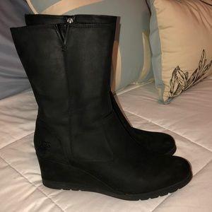 UGG Waterproof Sheepskin Boot Wedge Black 10
